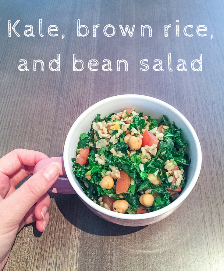 Easy kale, rice, and bean salad