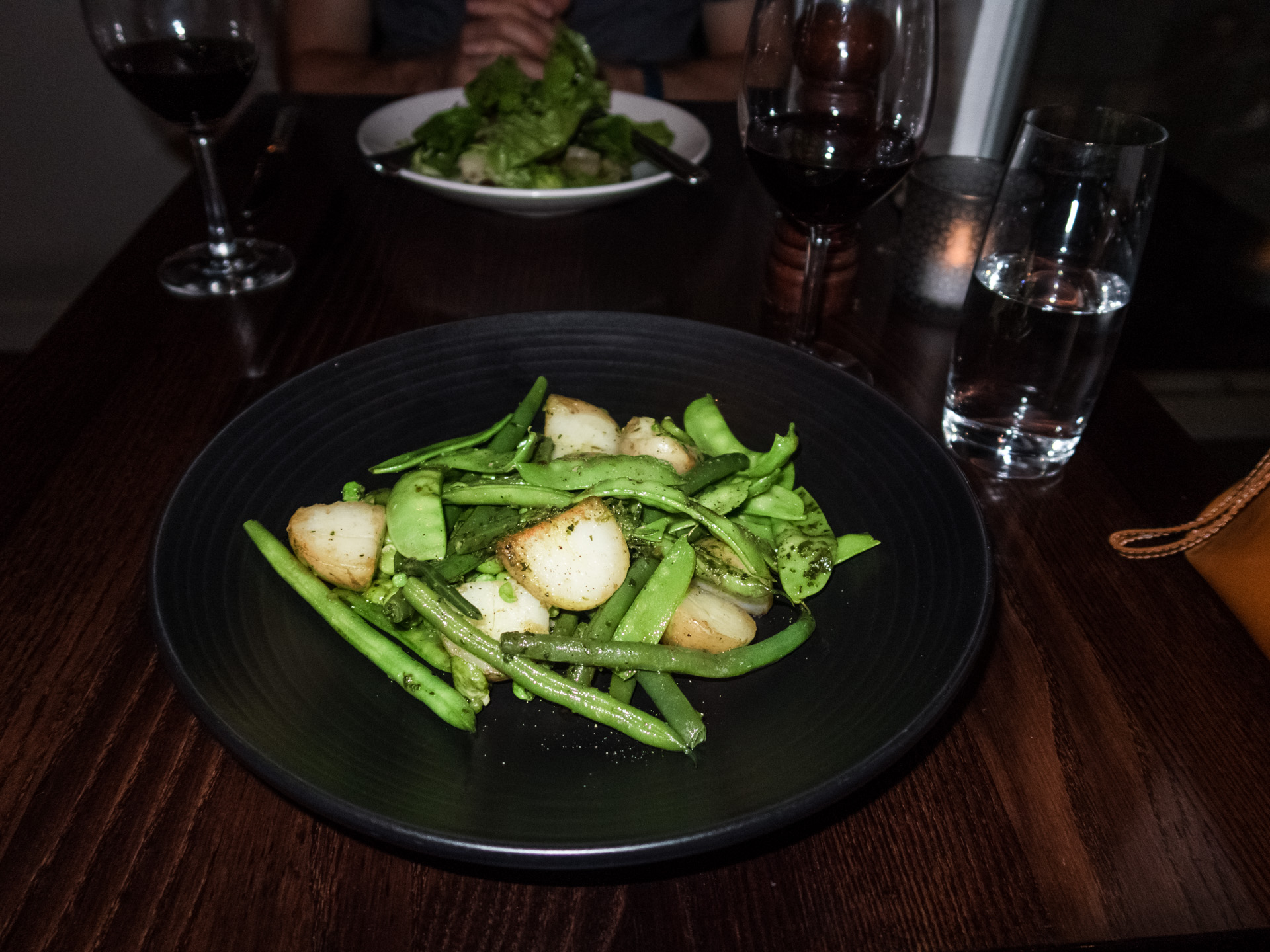Dinner at Bistro Lago - Taupo. Roasted vegetables featuring snow peas, green beans and potatoes