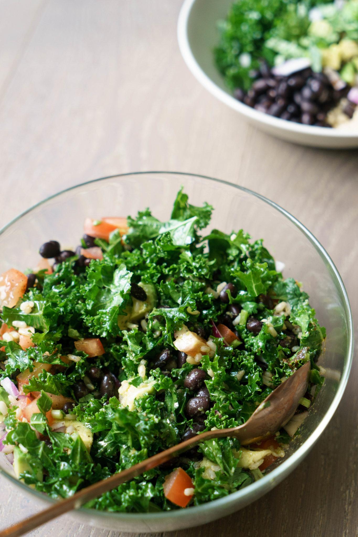 Brown Rice, Kale and Bean Salad